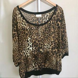Tops - Leopard Print Scoop Neck Top